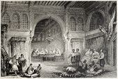 stock photo of algiers  - Old illustration of a Moorish palace interior - JPG