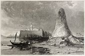 Old illustration of Skull tower in Djerba island, Tunisia. Created by Allom and Benjamin, published