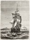 Old illustration of frigate Novara of the Austro-Hungarian Navy. Created by Jules Noel, published on
