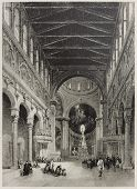 Old illustration of Messina cathedral interior, Italy. Created by Leitch and Floyd, published on Il Mediterraneo Illustrato, Spirito Battelli ed., Florence, Italy, 1841