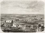 Old illustration of a convoy in the pampas, southern America. Created by Duveau after Schmidtmeyer,