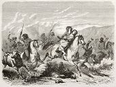 Old illustration of a raid and woman rape by south American natives. Created by Duveau after Gay, pu