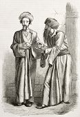 Old illustration of Jews in Jerusalem. Created by Bida and Manini, published on Le Tour du Monde, Paris, 1860