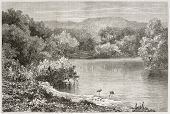 Old view of the Jordan river. Created by Daubigny after photo of unknown author, published on Le Tou