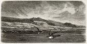 Mount Parry old view, Palmer Archipelago, Antarctic region. Created by Noel after Kane, published on Le Tour du Monde, Paris, 1860