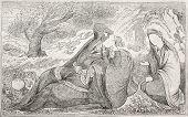 Постер, плакат: Индийская живопись воспроизведение Созданный Лоренс после оригинал хранится в Дворец Чехель Сотун сорок столбец