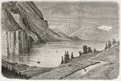 Flatdal lake old illustration, Telmark, Norway. Created by Dore after Riant, published on Le Tour du