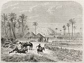 Edri oasis old illustration, Fezzan, Libia. Created by Rouargue after Barth, published on Le Tour du Monde, Paris, 1860