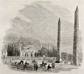 Constantinople hippodrome old view with Theodosius obelisk and Walled obelisk. By unidentified autho