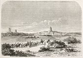 Arrival in Timbuktu, old illustration. Created by Lancelot after Barth, published on Le Tour du Mond