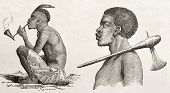 Tanganyika lake western coast dwellers. Created by Burton, published on  Le Tour du Monde, Paris, 1860