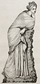 Polyhymnia marble statue old illustration. By unidentified author, published on Magasin Pittoresque,