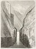 Gudvangen fjord old view, Norway. Created by Dore after Riant, published on Le Tour du Monde, Paris,