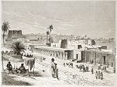 Old view of Murzuk, Fezzan, Libya. Created by Rouargue after Barth, published on Le Tour du Monde, Paris, 1860