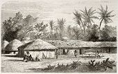 Kaouele village old view, Tanzania. Created by Lavieille after Burton, published on Le Tour du Monde, Paris, 1860.