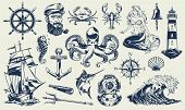 Vintage Monochrome Nautical Elements Set With Sailor Sea Animals Lighthouse Mermaid Ship Diving Helm poster