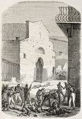 Battle near Gancia convent old illustration. Palermo, Italy. Created by Worms, published on L'Illustration, Journal Universel, Paris, 1860