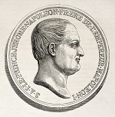 Jerome Bonaparte medal, old illustration. Created by Godefroy-Durand after Barre, published on L'Ill