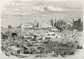 Beirut castle camp during Druze-Maronite conflict. Created by Godefroy-Durand, published on L'Illust