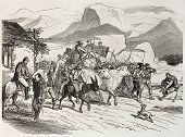 Garibaldian volunteers marching towards Messina, Sicily. Created by Bertall, published on L'Illustra