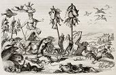 Lent triumph: reproduction of an allegoric composition by Romayn de Hooghe. Published on Magasin Pittoresque, Paris, 1842