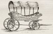Araba old illustration (old Turkish wagon for women). By unidentified author, published on Magasin Pittoresque, Paris, 1842