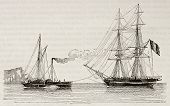 Tug boat towing a merchant brig, old illustration. By unidentified author, published on Magasin Pitt