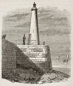 Honfleur lighthouse old view, Normandy, France. By unidentified author, published on Magasin Pittoresque, Paris, 1842
