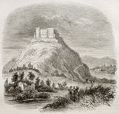 Spilberk castle old view, southern Moravia, Czech republic. By unidentified author, published on Magasin Pittoresque, Paris, 1843