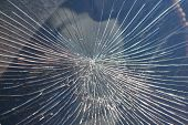 Cracks From The Impact On The Windshield Of The Car. The Cracks Radiate From The Center Of The Impac poster