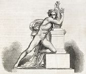 Orestes in the altar of Minerva. Created by Barthelamy, published on L'Illustration, Journal Univers
