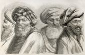 Druze men old illustration.  By unidentified author, published on L'Illustration, Journal Universel,