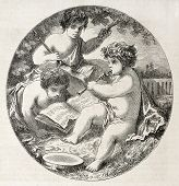 Music, old allegoric representation. After painting of Hedouin, published on L'Illustration, Journal Universel, Paris, 1860