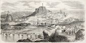 Puy-en-Velay old view, France. Created by Rouargue, published on L'Illustration, Journal Universel,