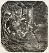 Groups of competitor miners brawling in a tunnel. By unidentified author, published on L'Illustratio