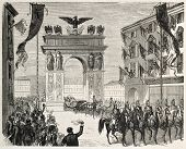 Napoleon III and Empress Eugenie entrance in Nice through triumphal arch. Created by Godefroy-Durand, published on L'Illustration, Journal Universel, Paris, 1860