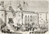 Napoleon III and Empress Eugenie arrival in Algiers cathedral. Created by Godefroy-Durand after Marc, published on L'Illustration, Journal Universel, Paris, 1860