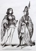 French medieval costumes old illustration: Counts of Toulouse. After manuscript kept in Toulouse library, published on Magasin Pittoresque, Paris, 1844