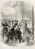 Empress Eugenie embracing imperial prince, old illustration. Created by Janet-Lange, published on L'Illustration, Journal Universel, Paris, 1860