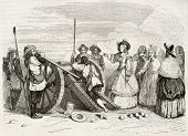 Marie de Bourbon, Duchess of Montpensier (known as Mademoiselle de Montpensier), commanding cannon shot. Created by Penguilly and Montigneul, published on Magasin Pittoresque, Paris, 1844