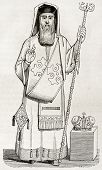 Old illustration of Greek orthodox bishop vestment. Created by Durand, published on Magasin Pittores