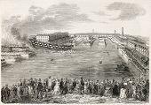 Launching the Ville-de-Nantes, old illustration. Created by Gaildrau,  published on L'Illustration, Journal Universel, Paris, 1858