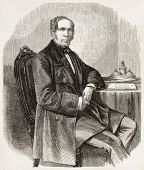 Jean-Baptiste Louis Gros old engraved portrait, French daguerrotypist and diplomat. Created by Marc, published on L'Illustration, Journal Universel, Paris, 1858