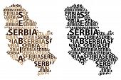 Sketch Serbia Letter Text Map, Republic Of Serbia - In The Shape Of The Continent, Map Serbia - Brow poster
