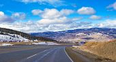 Winter view of mountain road to Okanagan valley, british columbia, canada