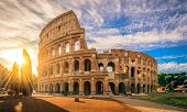 Colosseum At Sunrise, Rome. Rome Architecture And Landmark. Rome Colosseum Is One Of The Best Known  poster