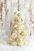 Isolated Shiny Christmas Tree In Gold On White Background.new Year, Christmas Background, Rustic Sty poster