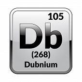 Dubnium Symbol.chemical Element Of The Periodic Table On A Glossy White Background In A Silver Frame poster