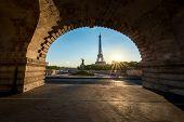 Sunrise In Eiffel Tower In Paris, France. Eiffel Tower Is Famous Place In Paris, France. poster