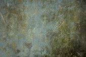 An Old Dirty Blue-green Wall With Scratches And Stains Of Dirt, Mold And Moss. Rough Texture. Rough  poster